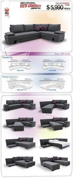 Sala Ivanna Recamara De Inlab Muebles Sofas Camas Armala - $ 5,990.00 en MercadoLibre
