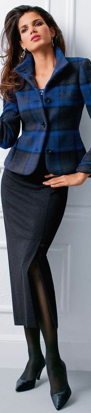 Madeleine Fall 2014 ● MADELEINE Checked Blazer.  The prettiest plaid I've seen in a while.