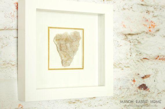 Beautiful Framed Quartz Specimen Wall Decor  by MasonRabbitHome (Home & Living, Home Décor, Rocks & Geodes, quartz decor, gemstone decor, shadow box decor, white frame, framed gemstone, quartz, quartz crystal, natural history, framed agate, Rocks and geodes)