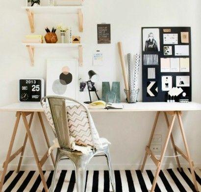 Skandinavische Möbel Häusliches Arbeitszimmer Gestalten Schreibtisch Läufer