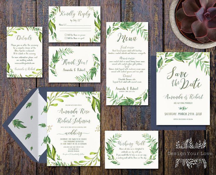 printable greenery wedding invitation suite green…