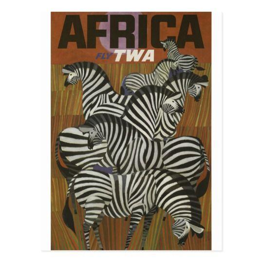 Vintage TWA Africa Travel Postcard