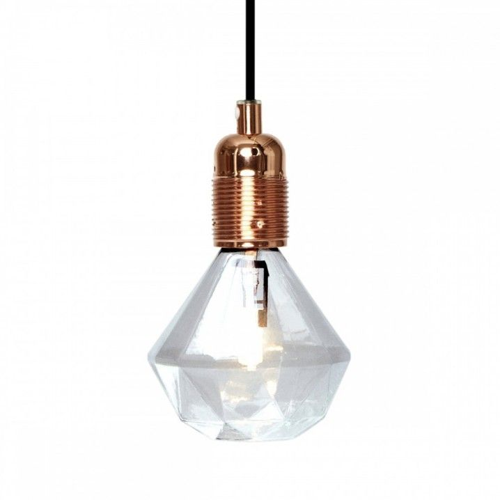 Design by: ERIC THERNER     In 2009, Swedish designer Eric Therner put a pen to the iconic light-bulb and changed the classic round shape into the distinctive shape of a Diamond.    Halogen bulb    Fits FRAMA E27 Bulb Socket with Textile Cord     18W warm Glow  Estimated 2000 life hours  Size: 115x115 mm  Features: Standard Edison Screw    Material: Glass  Finish: Clear
