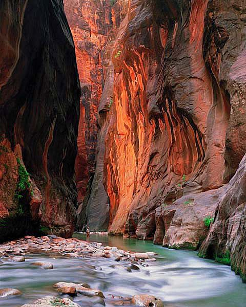 The Narrows, Zion park Utah - My dad and I walked through the river at the narrows