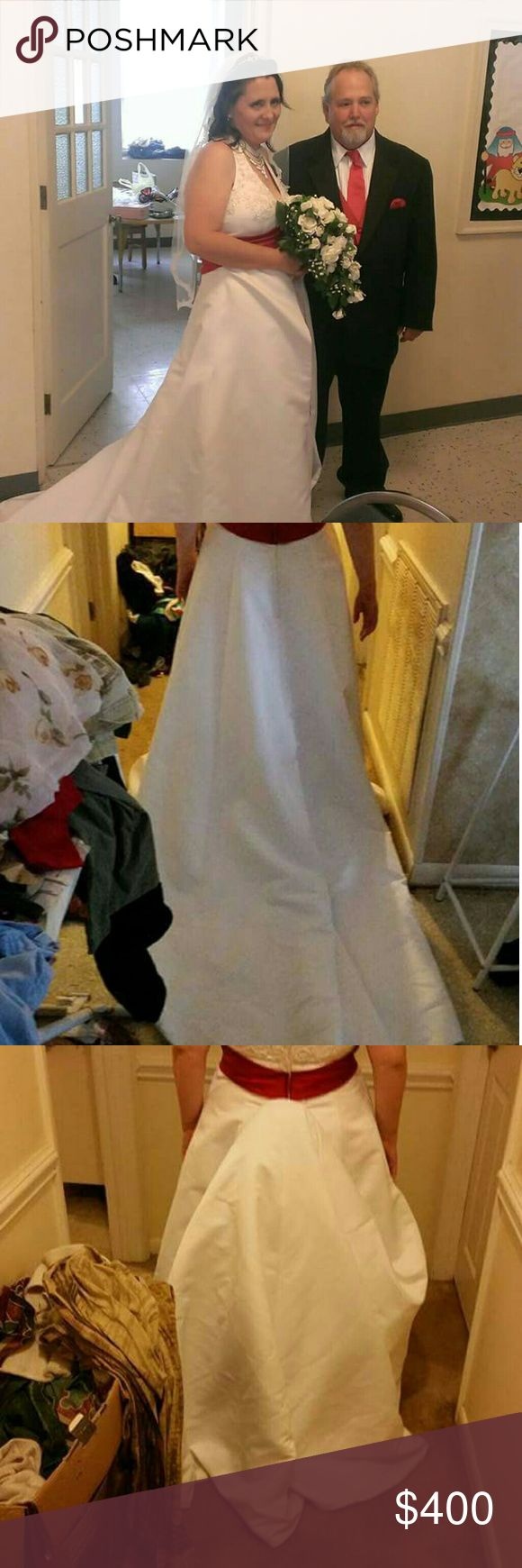 Halter style wedding gown Original size 14 wedding gown in mint condition has pearl sequins from top to bottom Bussels in the back has long train can be let out to fit call 828 748 3638 forever yours international  Dresses Wedding