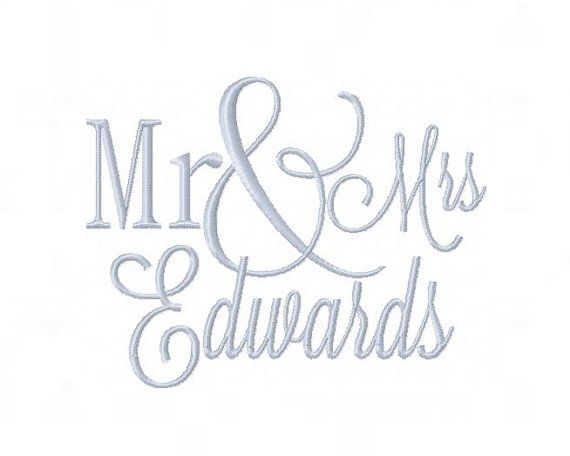 Mr & Mrs Embroidery Font Set for Pillow Cover by HerringtonDesign, $1.95