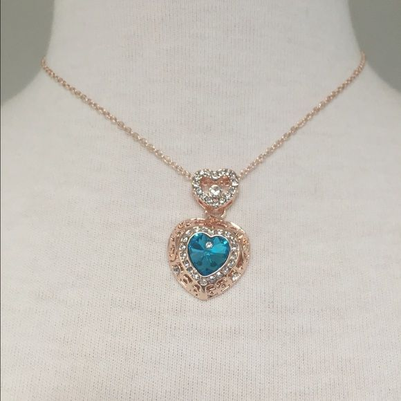 Teal double heart necklace Rose gold necklace. Teal center stone. J1008 Jewelry Necklaces