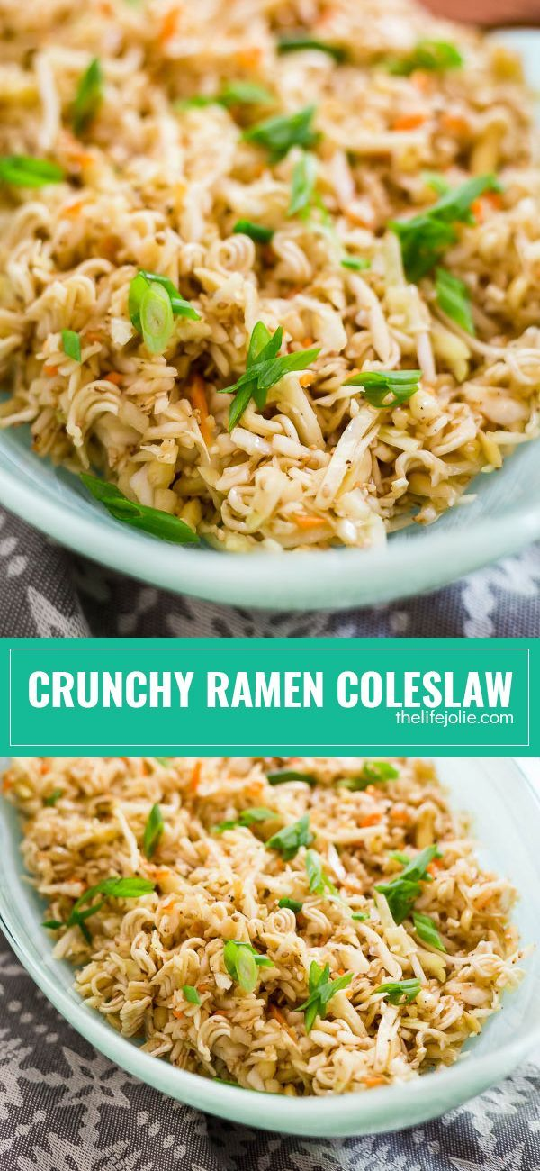 This Crunchy Ramen Coleslaw is as an easy, Asian inspired salad that whips up in minutes. It's one of the most simple and healthy recipes I've tried, made with cabbage and Ramen and served cold with a delicious, flavorful dressing that the whole family will love!