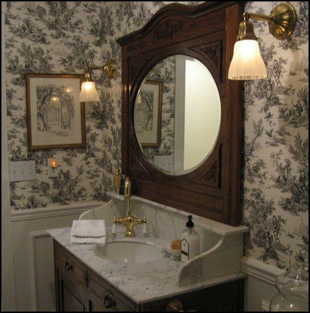 antique vanity with Carrara marble top