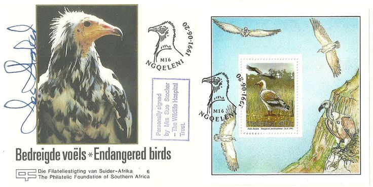 Endangered Birds FDC signed by Sue Stocker(St.Tiggywinkles)