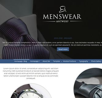 Menswear Antwerp - An easy to use and stylish Joomla template, just released. This fast loading and responsive Joomla template features not one but 3 different static background images in 3 different locations, all of which can be set or uploaded directly from the template manager options. It features only 3 extensions in total (all included) and comes packed with a quickstart package, allowing you to create a copy of this demo in just a few clicks