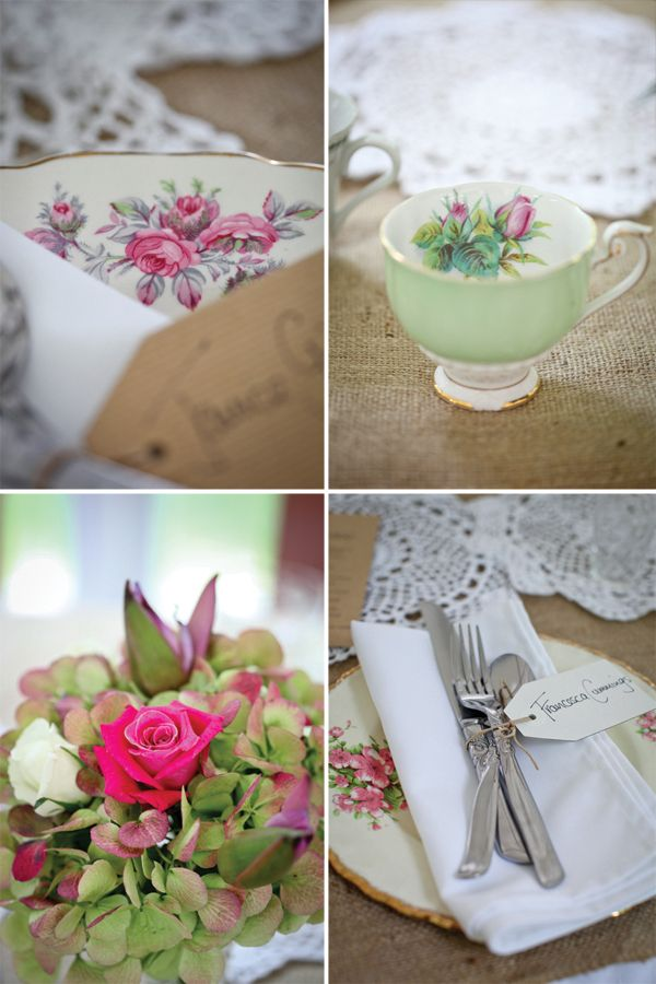 Using vintage dishes and lace on the tables gives it a stunning vintage feel!