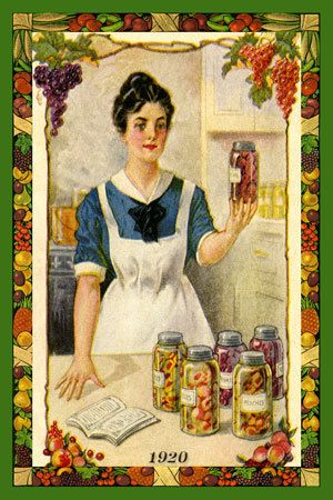 Olde America Antiques | Quilt Blocks | National Parks | Bozeman Montana : Agriculture and Farming - Woman Canning 1