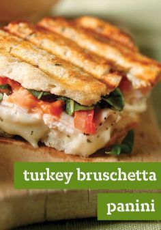 Turkey Bruschetta Panini — Here's everything you love about bruschetta, grilled into a tasty turkey panini. If you start now, you can enjoy it in just 10 minutes! This delicious sandwich recipe makes for the perfect addition to your back-to-school meal plan.