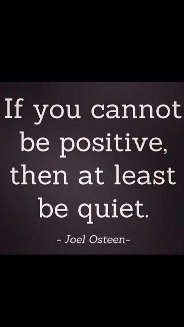 At least be quiet!