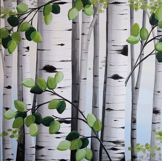 Aspen trees on canvas made to order set of by - White painted tree trunks ...