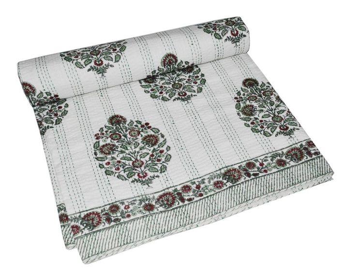 Indian Handmade Quilt Vintage Kantha Bedspread Throw Cotton Blanket Gudri Queen #Handmade #Asian