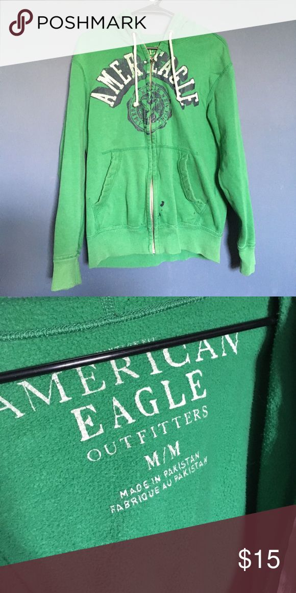 American Eagle Men's Green Zip up A green Zip up hoodie. Fits small, but is a medium. American Eagle Outfitters Sweaters Zip Up
