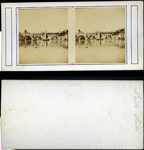 Stereograph of the Ponte Rotto, Rome.