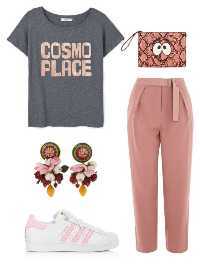 """""""pink eyes"""" by aboutmetheblog on Polyvore featuring Topshop, adidas, Dolce&Gabbana and MANGO"""