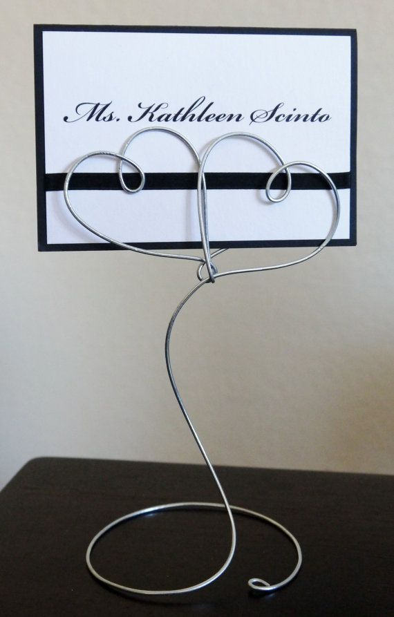 Standing Wire Double Heart Place Card or Table Name Holder for Wedding or Shower, Reception Table Number Card Holders, Photo Holder Favors