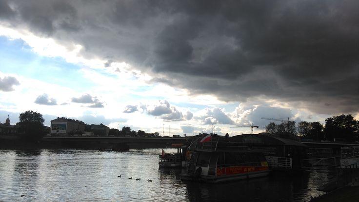 dark clouds above Vistula river