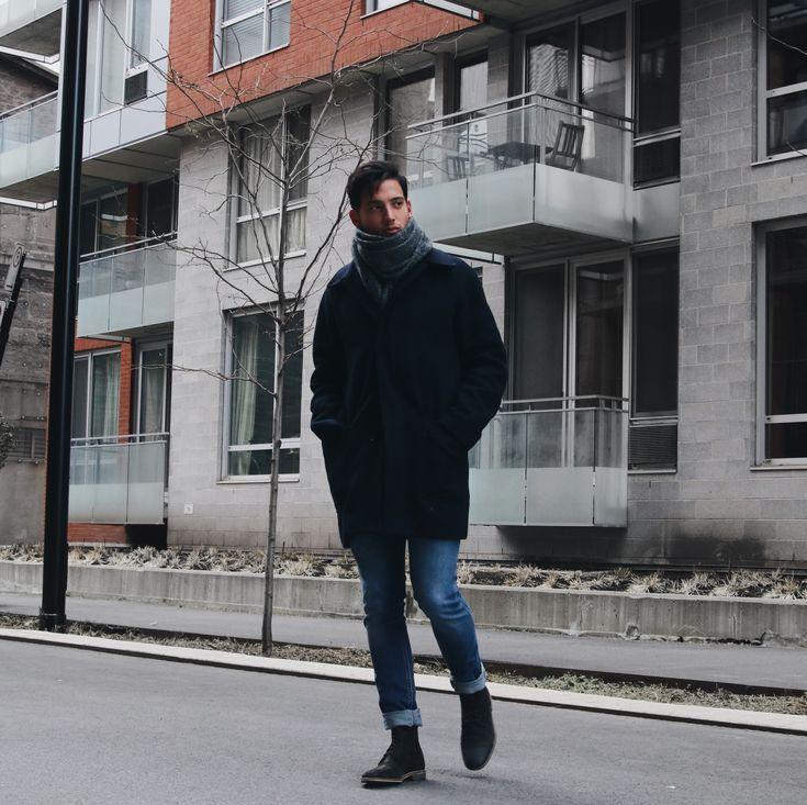 Winter men's look, scarf loving