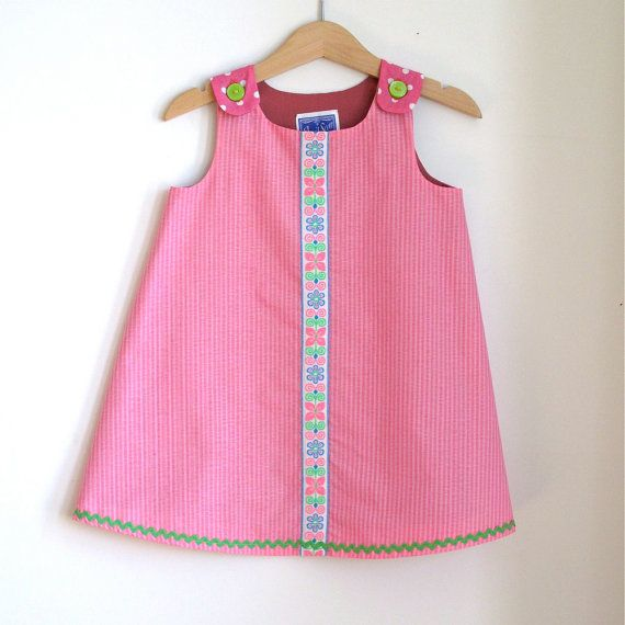 Pink & Green Preppy Toddler Girls Dress  size 2T  by aprilscott, $36.00