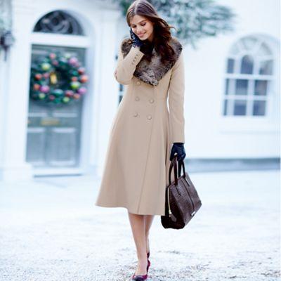 J by Jasper Conran beige faux fur trim coat. #wishesmadefabulous #coat #designer