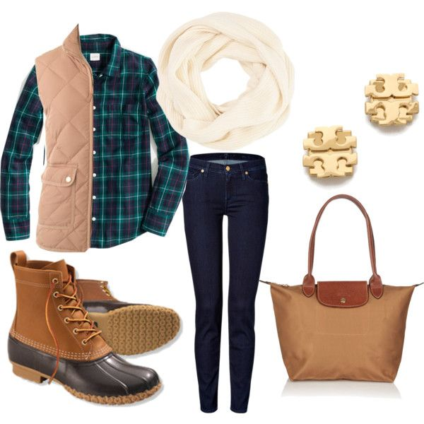 New England Prep Fall Outfit by kk-wake on Polyvore featuring J.Crew, 7 For All Mankind, L.L.Bean, Longchamp and Tory Burch