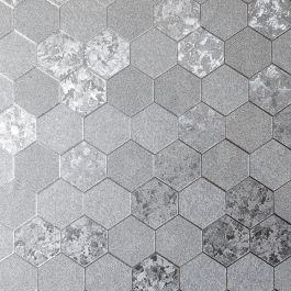 Foil Honeycomb Wallpaper Silver Arthouse 2947000  This beautiful Foil Honeycomb Wallpaper will bring a touch of glamour and style to any room. The design is based on a classic geometric honeycomb style pattern but with contrasting subtle textures and a metallic silver finish for a contemporary feel. This stunning paper is designed to catch and reflect the light to give you a different look depending on the viewing angle and lighting in your room. Easy to apply, this high quality vinyl…