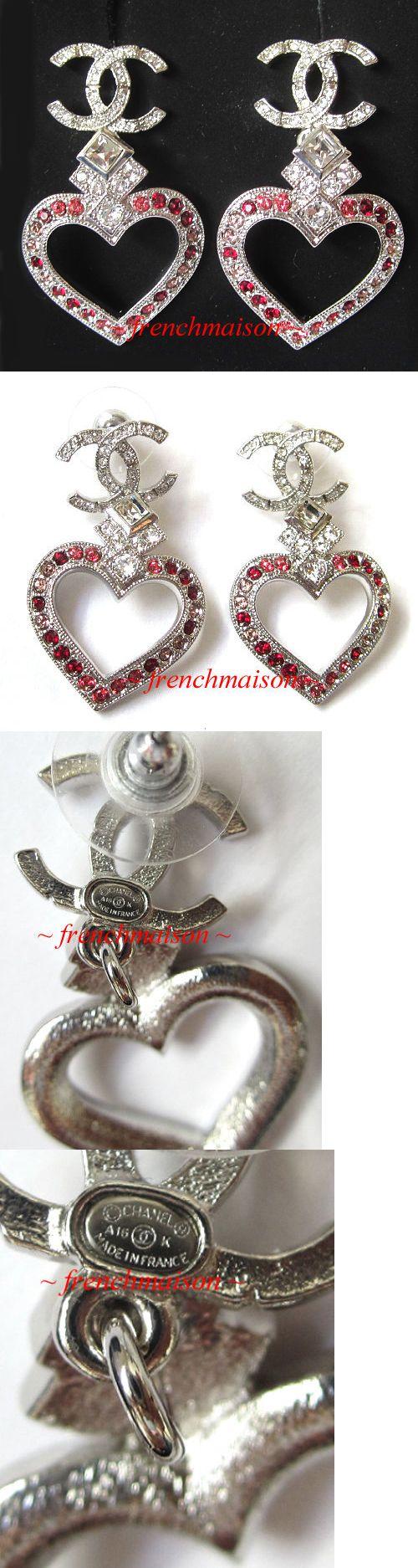 Earrings 50647: Authentic Chanel Cc Logo Earrings Silver Heart Love Dangle Crystal Gift New $525 -> BUY IT NOW ONLY: $475 on eBay!