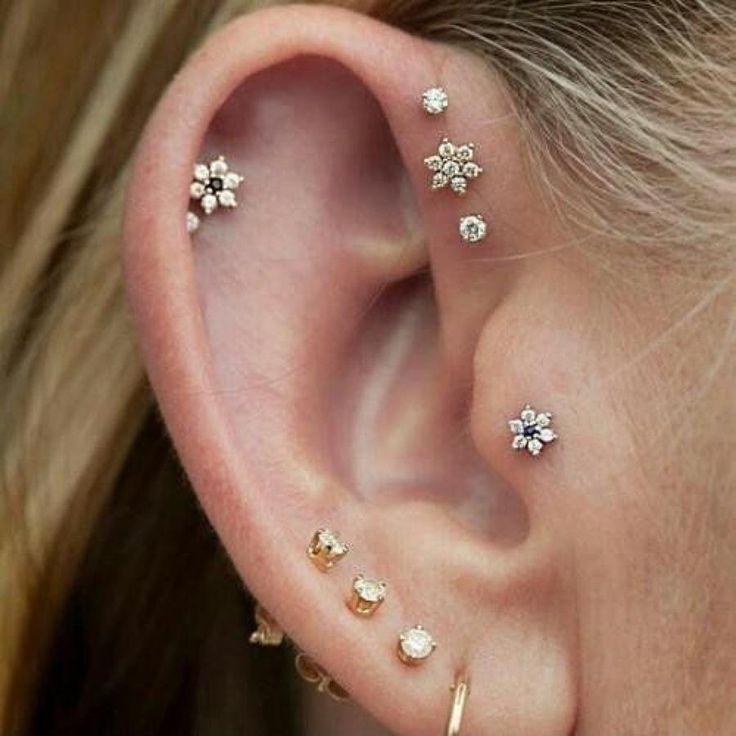 Petals Crystal Flower Ear Piercing Jewelry 16G Earring Studs in Silver