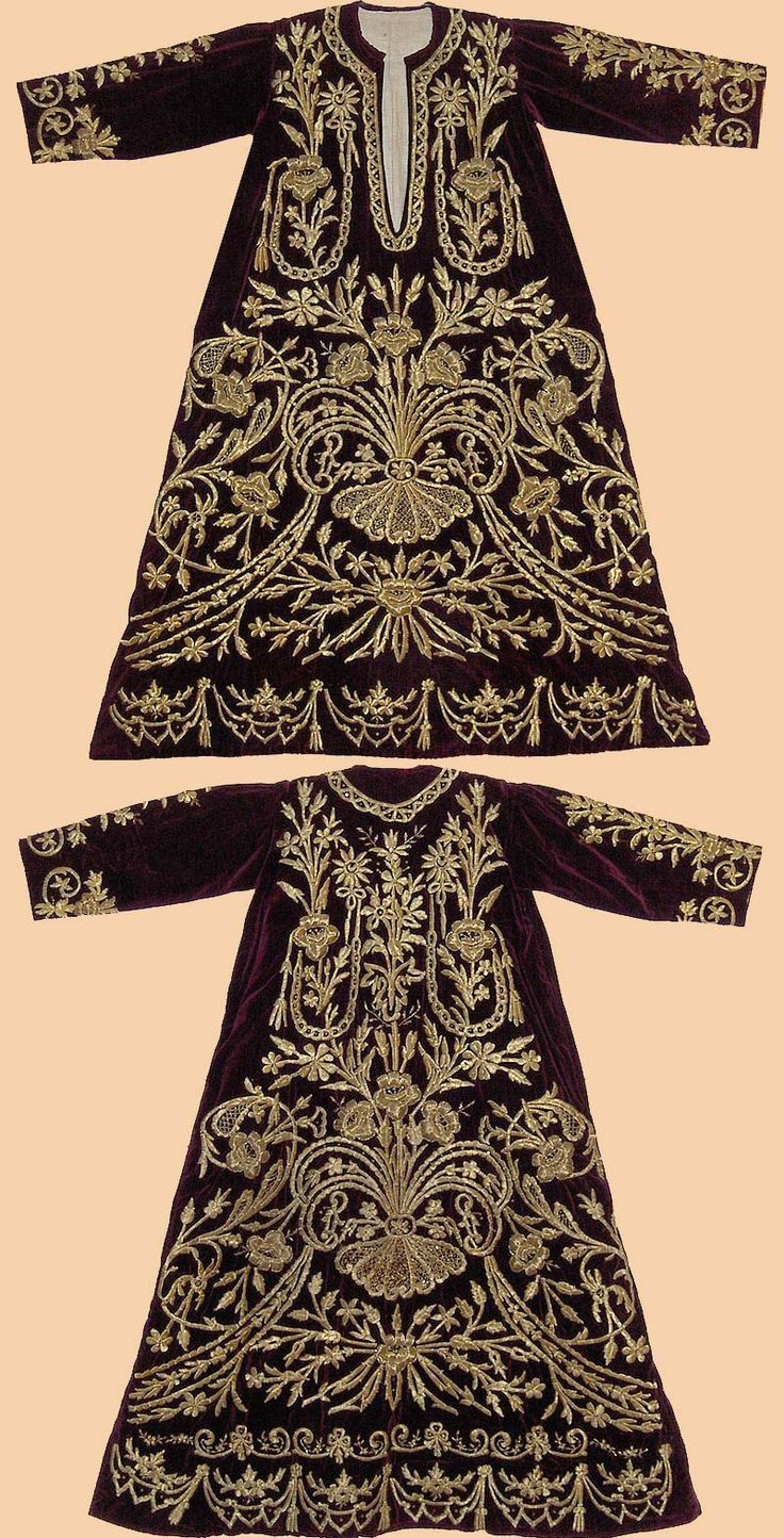 Festive woman's dress ('bindallı entari'). Late-Ottoman, urban, end of 19th century. Embroidery technique: 'sarma' / 'Maraş işi'.