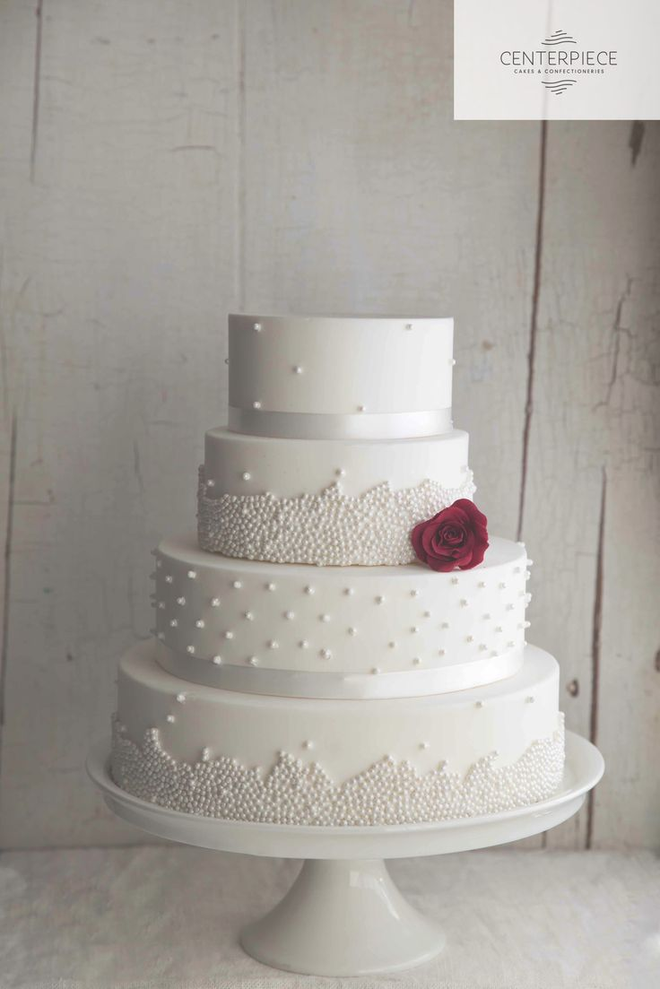 White pearl 4 tier wedding cake