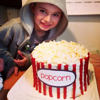 Popcorn Cake - the perfect treat for movie night or a carnival themed party! | eventstocelebrate.net