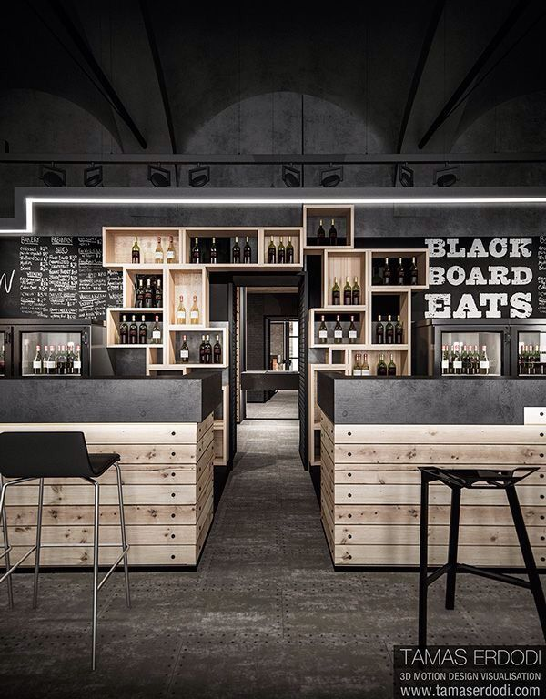 Clean wood and blackboard bar idea