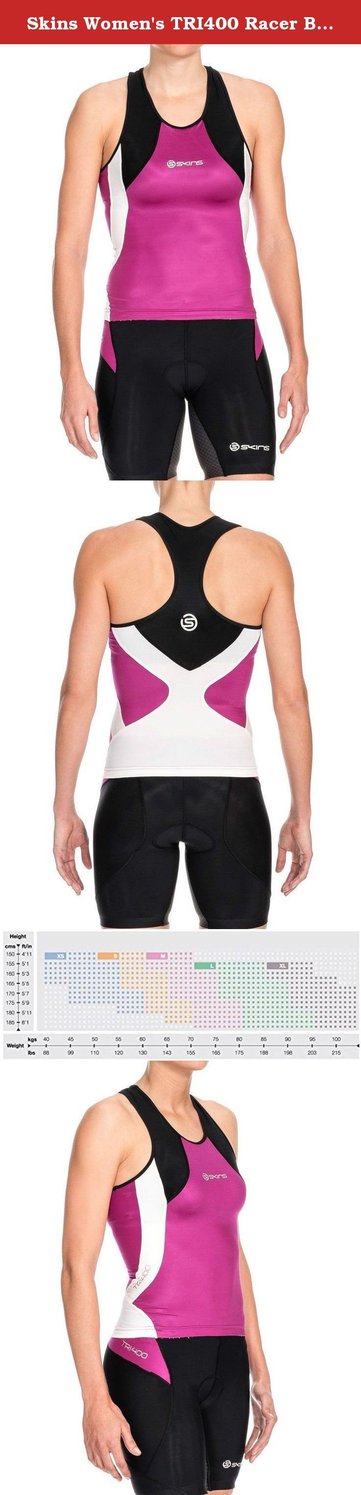 Skins Women's TRI400 Racer Back Top. SKINS TRI400 Women's Compression Racer Back Top features dynamic gradient compression to help accelerate your blood flow to get more oxygen to your active muscles. Based on 400 key fitting points, the SKINS TRI400 range is cut for comfort while swimming, cycling and running. Strategically placed panels of TRI400 fabric on the front of the top minimize drag and aid performance in the water. Memory MX Fabric panels in the back of the top provide targeted...