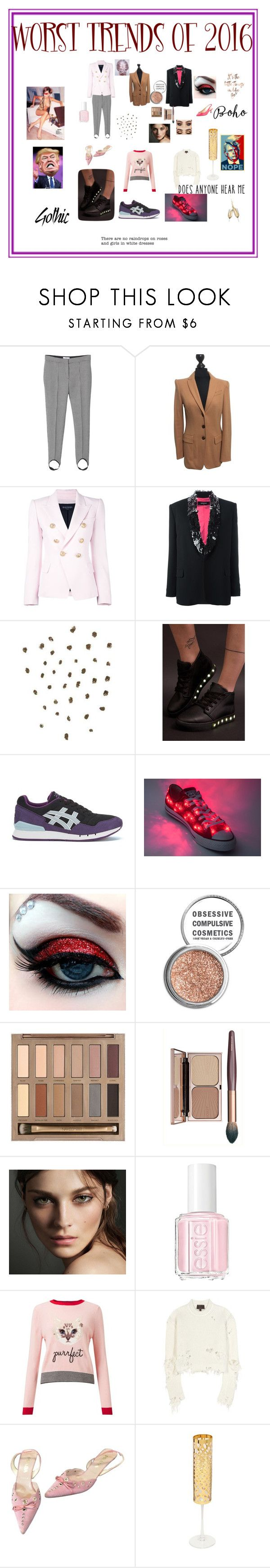 """worst trends of 2016"" by giagiagia ❤ liked on Polyvore featuring MANGO, MARC CAIN, Balmain, Dsquared2, Topshop, Asics, Obsessive Compulsive Cosmetics, Urban Decay, Burberry and Essie"