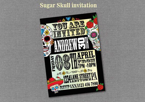 Sugar Skull Invitation Adult Digital Customizable by BolleBluParty