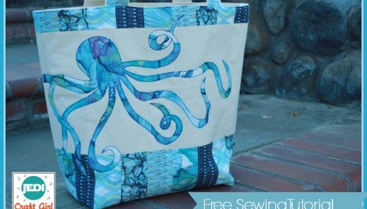 Nautical Octopus Beach Tote - Free Sewing Tutorial + Applique Pattern