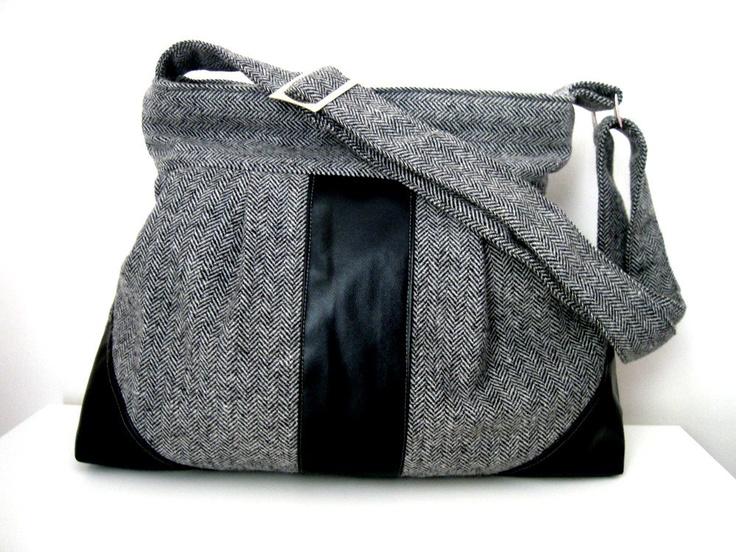 Messenger Bag-Wool-Gray Black Shoulder Bag-Diaper Bag-Pleated-Everyday Bag-Zipper Closure. $44.00, via Etsy.