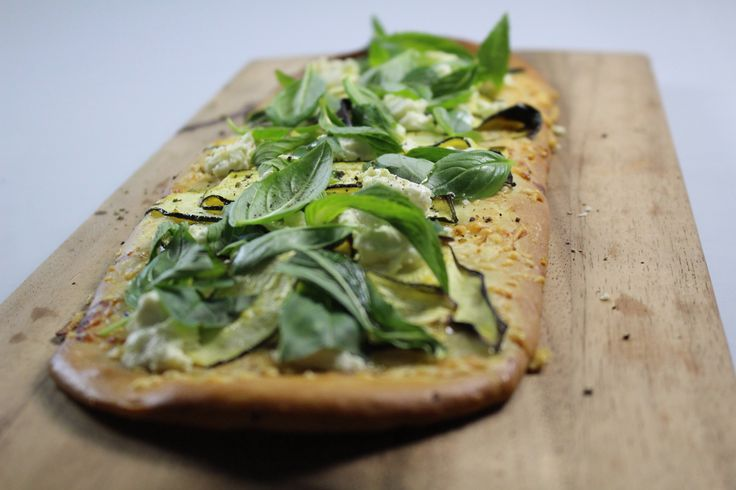 Zucchini, Goats Cheese & Mint Pizza. Delicious, rustic, home made vegetarian pizza. #Woolworths #recipe #pizza http://www2.woolworthsonline.com.au/shop/ContentView/10269?page=852