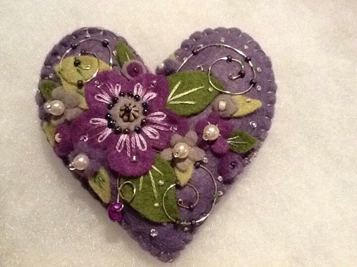 Handmade floral heart brooch in shades of purple with beads and wire embellishments, lavender scented.