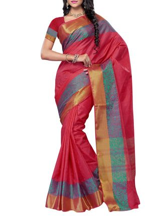 Buy Meghdoot-camellias Red Art Tussar Silk Saree with blouse piece Online, , LimeRoad