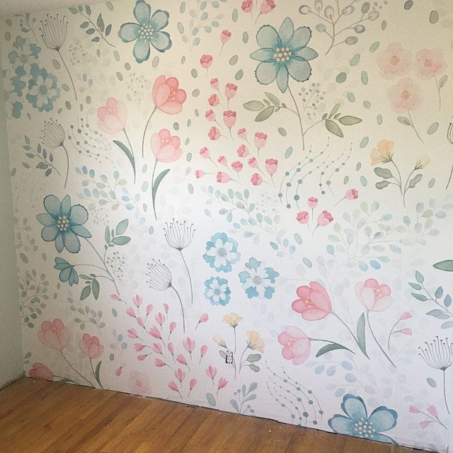 Tropical Flamingo Repositionable Peel N Stick Or Etsy Removable Wallpaper Mural Whimsy