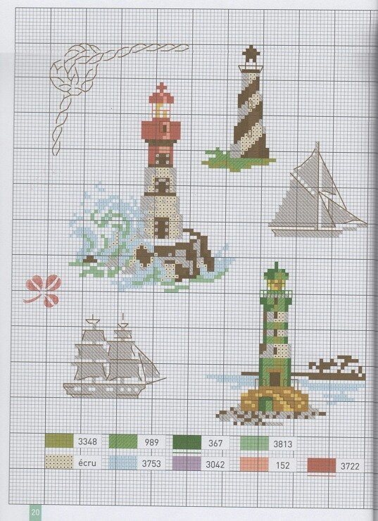 Lighthouses and ships, cross stitch, part 2