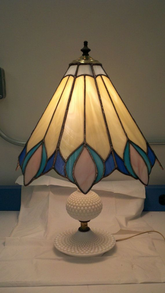 Art Nouveau Stained glass shade with milk glass lamp.