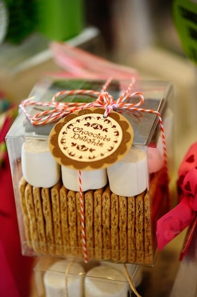 Another inspiration on the smores-party-favor - but I really love that clear box and think it would be a cute partyfavor with loads of other options for things inside.