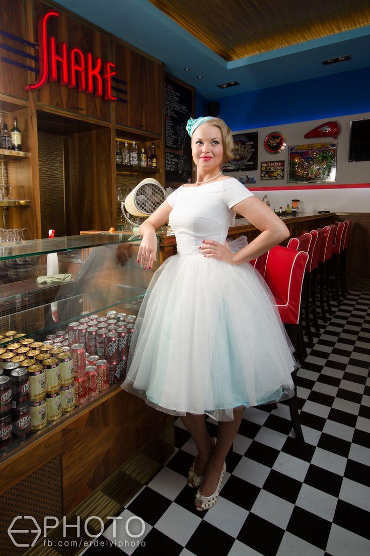 rockabilly wedding 1950's wedding vintage wedding dress  photo: Erdélyi Ferenc model: Mercedes Kilvinyi,  Hair: Diamant Dia/ Kucsera Hajszalon Make-Up: Takács Ágnes Dresses: www.ticci.hu hat: ozmonda thanx: Sunny Diner